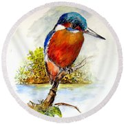River Kingfisher Round Beach Towel