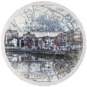 River Liffey Dublin Round Beach Towel