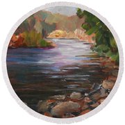 River Light Round Beach Towel