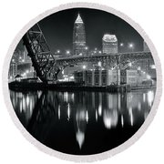 Round Beach Towel featuring the photograph River Lights In Black And White by Frozen in Time Fine Art Photography