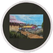 Round Beach Towel featuring the painting River Marina by Jim Phillips
