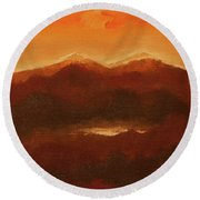 River Mountain View Round Beach Towel