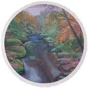 River In The Fall Round Beach Towel