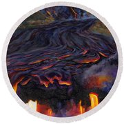 River Of Fire - Kilauea Volcano Eruption Lava Flow Hawaii Contemporary Landscape Decor Round Beach Towel