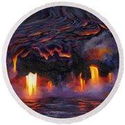 River Of Fire - Kilauea Volcano Eruption Lava Flow Hawaii Contemporary Landscape Decor Round Beach Towel