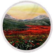 River Of Poppies Round Beach Towel by Judy Kirouac