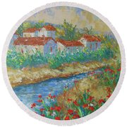 River Of Provence Round Beach Towel