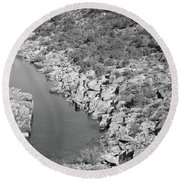 River On The Rocks. Bw Version Round Beach Towel