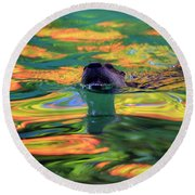 River Otter And Autumn Color Round Beach Towel