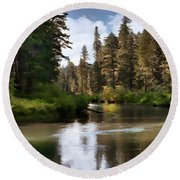 Millers Creek Painterly Round Beach Towel by Peter Piatt