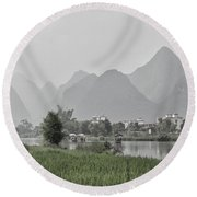 River Rafting Round Beach Towel