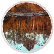 River Reflection Round Beach Towel by Skip Willits