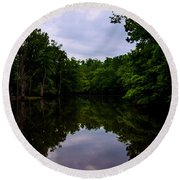 Round Beach Towel featuring the digital art River Reflections by Chris Flees