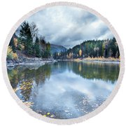 Round Beach Towel featuring the photograph River Reflections by Fran Riley