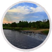 River Road Park At Dusk Round Beach Towel