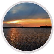 River Road Park Sunset Round Beach Towel