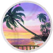 River Road Sunrise Round Beach Towel