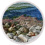 River Rocks Round Beach Towel