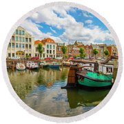 River Scene In Rotterdam Round Beach Towel by Venetia Featherstone-Witty