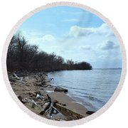 Delaware River Shoreline Round Beach Towel