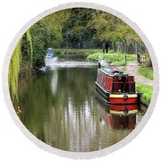 Round Beach Towel featuring the photograph River Stort In April by Gill Billington