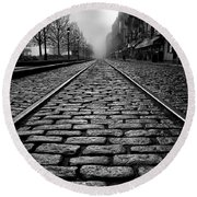 River Street Railway - Black And White Round Beach Towel