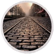 River Street Railway Round Beach Towel