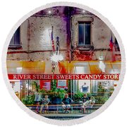 River Street Sweets Candy Store Savannah Georgia   Round Beach Towel