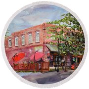 Round Beach Towel featuring the painting River Street Tavern-ellijay, Ga - Cheers by Jan Dappen
