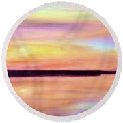 Round Beach Towel featuring the painting River Sunset by Valerie Anne Kelly