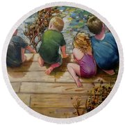 River Tenders Round Beach Towel by Mary Hubley