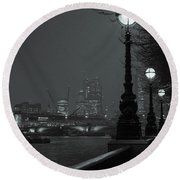 River Thames Embankment, London 2 Round Beach Towel