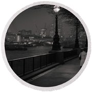 River Thames Embankment, London Round Beach Towel