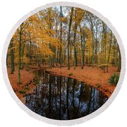 River Through Autumn Round Beach Towel