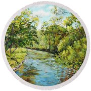 River Through The Forest Round Beach Towel