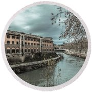 Round Beach Towel featuring the photograph River Tiber by Sergey Simanovsky