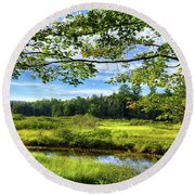 Round Beach Towel featuring the photograph River Under The Maple Tree by David Patterson