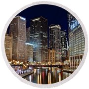 River View Of The Windy City Round Beach Towel by Frozen in Time Fine Art Photography
