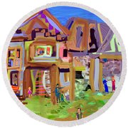 River Village Morning Round Beach Towel