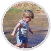 River Wading Round Beach Towel
