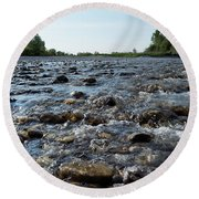 Round Beach Towel featuring the photograph River Walk by Helga Novelli