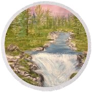 River With Falls Round Beach Towel