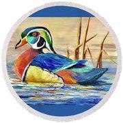 River Wood Duck Round Beach Towel