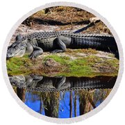Round Beach Towel featuring the photograph Riverside Reflection by Al Powell Photography USA