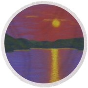 Riverboat Sunset Round Beach Towel