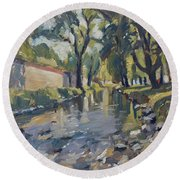 Riverjeker In The Maastricht City Park Round Beach Towel
