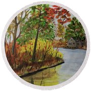 Round Beach Towel featuring the painting Rivers Bend by Jack G Brauer