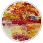 Riverscape In Red Round Beach Towel by Carolyn Rosenberger