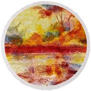 Riverscape In Red....part 2 Round Beach Towel by Carolyn Rosenberger