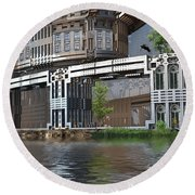 Riverside Apartments Round Beach Towel by Hal Tenny